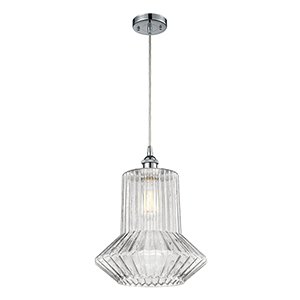 Springwater Polished Chrome LED Pendant with Clear Crystal Novelty Glass