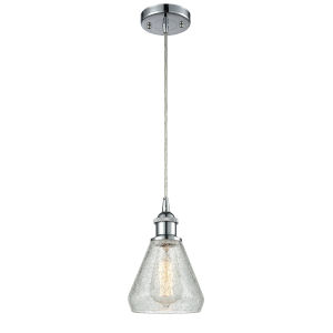 Conesus Polished Chrome One-Light Mini Pendant with Clear Crackle Glass