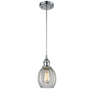 Eaton Polished Chrome LED Mini Pendant with Clear Fluted Sphere Glass