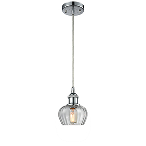 Fenton Polished Chrome One-Light Mini Pendant with Clear Fluted Sphere Glass