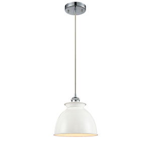Ballston Polished Chrome Eight-Inch LED Mini Pendant with Glossy White Metal Shade