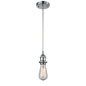 Bare Bulb Polished Chrome One-Light Mini Pendant