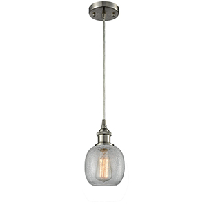 Belfast Brushed Satin Nickel LED Mini Pendant with Clear Crackle Sphere Glass