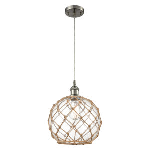 Ballston Brushed Satin Nickel 10-Inch One-Light Pendant with Clear Large Farmhouse Glass with Brown Rope Shade and Silver