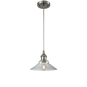 Disc Brushed Satin Nickel LED Pendant with Clear Cone Glass