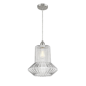 Springwater Brushed Satin Nickel LED Pendant with Clear Crystal Novelty Glass