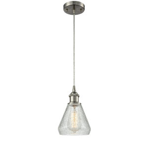 Conesus Brushed Satin Nickel One-Light Mini Pendant with Clear Crackle Glass