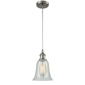 Hanover Brushed Satin Nickel One-Light Mini Pendant with Mouchette Glass