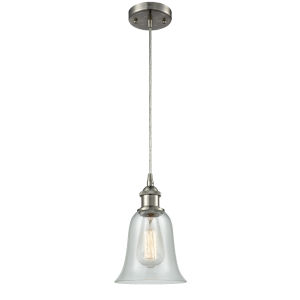 Hanover Brushed Satin Nickel LED Mini Pendant with Fishnet Glass