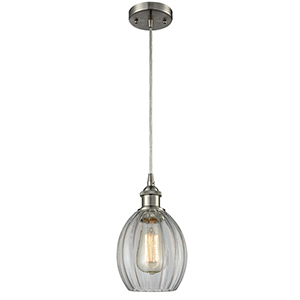 Eaton Brushed Satin Nickel One-Light Mini Pendant with Clear Fluted Sphere Glass