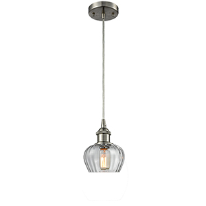 Fenton Brushed Satin Nickel One-Light Mini Pendant with Clear Fluted Sphere Glass