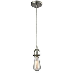 Bare Bulb Brushed Satin Nickel One-Light Mini Pendant