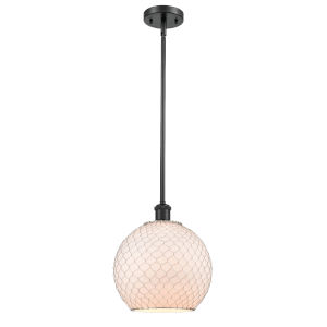 Ballston Matte Black 10-Inch One-Light Pendant with White Glass with Nickel Wire Glass and Metal Shade