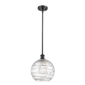 Ballston Matte Black 10-Inch One-Light Pendant with Clear Large Deco Swirl Shade