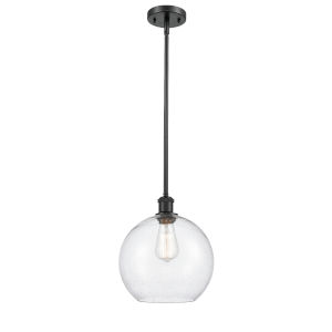 Ballston Matte Black 10-Inch One-Light Pendant with Seedy Glass Shade