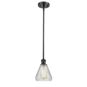 Conesus Matte Black One-Light Hang Straight Swivel Mini Pendant with Clear Crackle Glass
