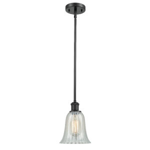 Hanover Matte Black One-Light Hang Straight Swivel Mini Pendant with Mouchette Glass