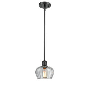 Fenton Matte Black One-Light Mini Pendant with Clear Glass