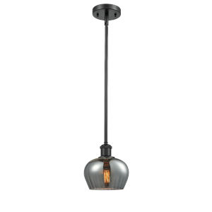 Fenton Matte Black One-Light Mini Pendant with Plated Smoked Glass