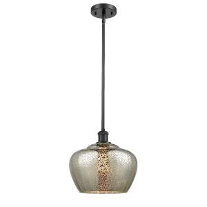 Large Fenton Matte Black LED Pendant with Mercury Glass