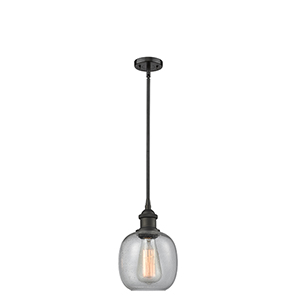Belfast Oiled Rubbed Bronze Six-Inch One-Light Mini Pendant with Clear Seedy Sphere Glass
