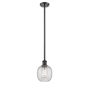Belfast Oiled Rubbed Bronze Six-Inch One-Light Mini Pendant with Clear Crackle Sphere Glass