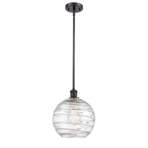 Ballston Oil Rubbed Bronze 10-Inch One-Light Pendant with Clear Large Deco Swirl Shade