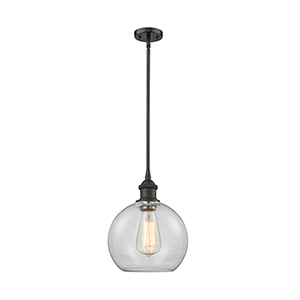 Athens Oiled Rubbed Bronze Eight-Inch One-Light Mini Pendant with Clear Globe Sphere Glass