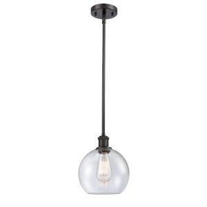 Ballston Oil Rubbed Bronze Eight-Inch LED Mini Pendant with Seedy Glass Shade