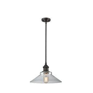 Disc Oiled Rubbed Bronze 10-Inch LED Pendant with Clear Cone Glass