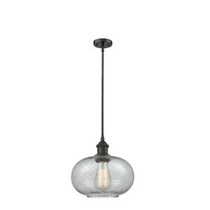 Gorham Oil Rubbed Bronze LED Hang Straight Swivel Mini Pendant with Seedy Glass
