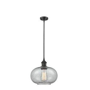 Gorham Oil Rubbed Bronze One-Light Hang Straight Swivel Mini Pendant with Seedy Glass