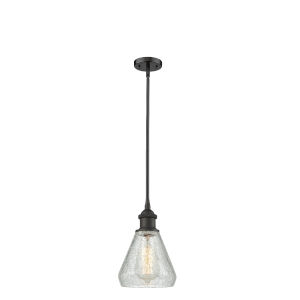 Conesus Oil Rubbed Bronze One-Light Hang Straight Swivel Mini Pendant with Clear Crackle Glass
