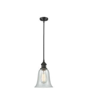 Hanover Oil Rubbed Bronze LED Hang Straight Swivel Mini Pendant with Fishnet Glass