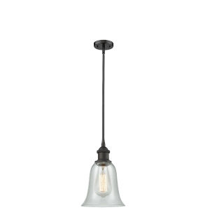 Hanover Oil Rubbed Bronze One-Light Hang Straight Swivel Mini Pendant with Fishnet Glass