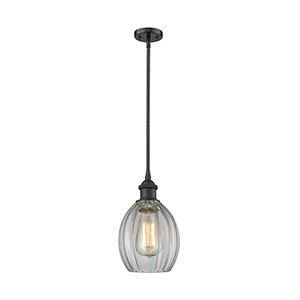 Eaton Oiled Rubbed Bronze Six-Inch LED Mini Pendant with Clear Fluted Sphere Glass
