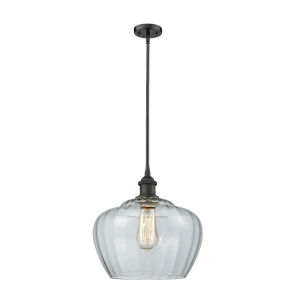 Large Fenton Oil Rubbed Bronze LED Pendant with Clear Glass