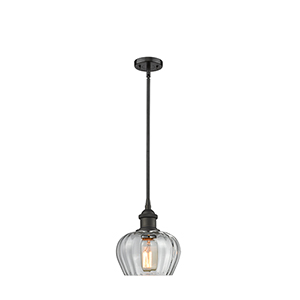 Fenton Oiled Rubbed Bronze Seven-Inch One-Light Mini Pendant with Clear Fluted Sphere Glass