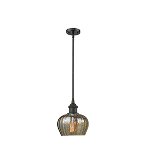 Fenton Oiled Rubbed Bronze Seven-Inch One-Light Mini Pendant with Mercury Fluted Sphere Glass