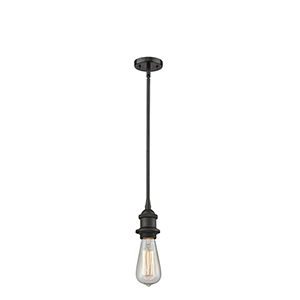 Bare Bulb Oiled Rubbed Bronze Five-Inch One-Light Mini Pendant