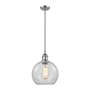 Athens Polished Chrome Eight-Inch LED Mini Pendant with Clear Globe Sphere Glass