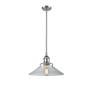 Disc Polished Chrome 10-Inch LED Pendant with Clear Cone Glass