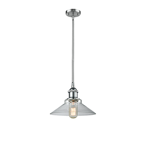 Disc Polished Chrome 10-Inch One-Light Pendant with Clear Cone Glass