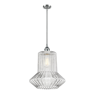 Springwater Polished Chrome 12-Inch One-Light Pendant with Clear Crystal Novelty Glass
