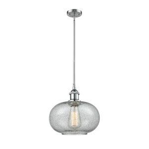 Gorham Polished Chrome One-Light Hang Straight Swivel Mini Pendant with Seedy Glass
