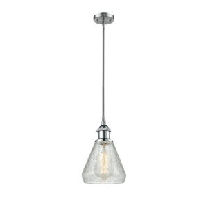 Conesus Polished Chrome One-Light Hang Straight Swivel Mini Pendant with Clear Crackle Glass