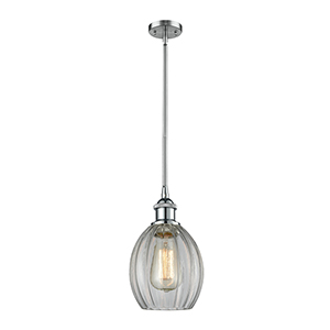 Eaton Polished Chrome Six-Inch One-Light Mini Pendant with Clear Fluted Sphere Glass