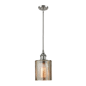 Cobbleskill Brushed Satin Nickel Five-Inch LED Mini Pendant with Mercury Drum Glass