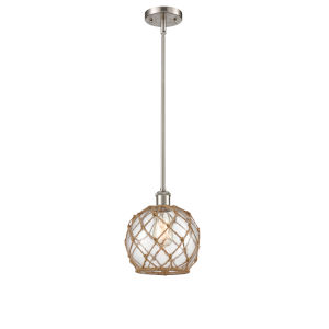 Ballston Brushed Satin Nickel Eight-Inch One-Light Mini Pendant with Clear Glass with Brown Rope Glass and Rope Shade