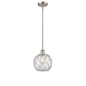 Ballston Brushed Satin Nickel Eight-Inch One-Light Mini Pendant with Clear Glass with White Rope Glass and Rope Shade